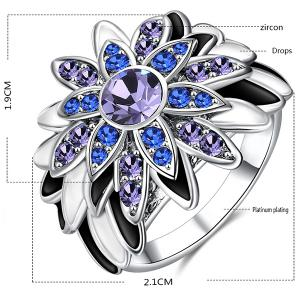 Flower Design Artificial Diamond Embellished Ring - SILVER