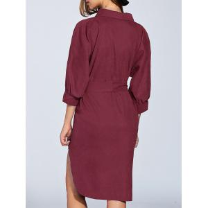 Bowknot 3/4 Sleeve Shirt Dress - WINE RED XL