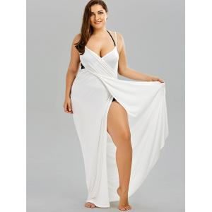 Plus Size Flowy Cover Up Wrap Dress - WHITE 3XL