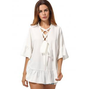 Flared Sleeve Lace Up Chiffon Tunic Top -