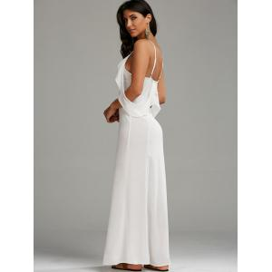Cold Shoulder Long Backless Slit Prom Dress - WHITE M