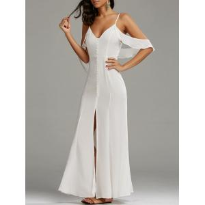 Cold Shoulder Long Backless Slit Prom Dress - White - M