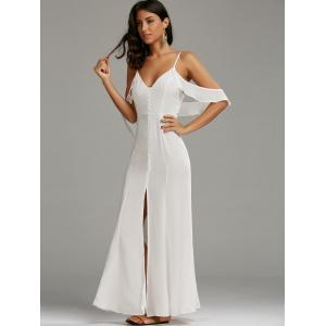 Cold Shoulder Long Backless Slit Prom Dress - WHITE XL