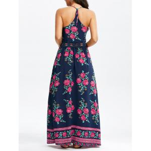 Floral Print Floor Length Slip Dress - Purplish Blue - L