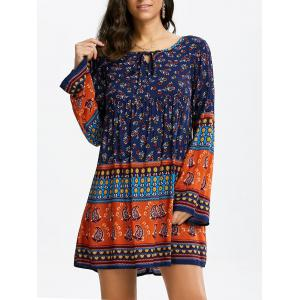 Floral Long Sleeve Mini Shift Tunic Dress