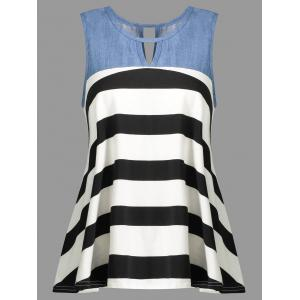 Striped Contrast Insert Cut Out Tank Top