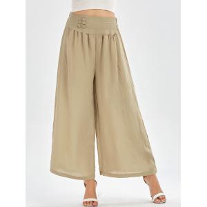 High Waisted Button Design Palazzo Pants - Apricot - One Size
