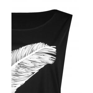 Side Slit  Feather Graphic Plus Size Tank Dress - BLACK 5XL