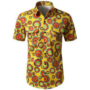 Double Pocket Circle Print Shirt