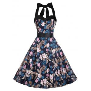 Halter Lace-up A Line Vintage Dress