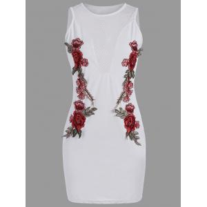 Mesh Insert Floral Embroidered Bodycon Mini Dress