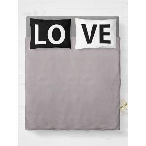 2Pcs Letter Love Bedroom Pillowcase Cover - White And Black - W20 Inch * L30 Inch