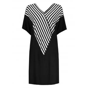 Plus Size Dolman Sleeve V Neck Stripe Tee Dress - Black - 4xl