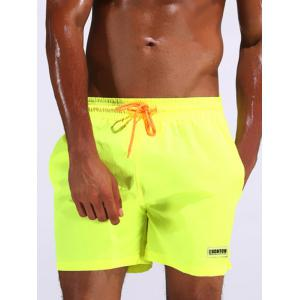 Color Drawstring Loose Fitting Board Shorts