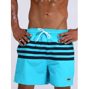 Loose Fitting Stripe Board Shorts - Azure - L