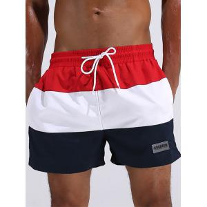 Breathable Stripe Panel Beach Board Shorts - Red - L
