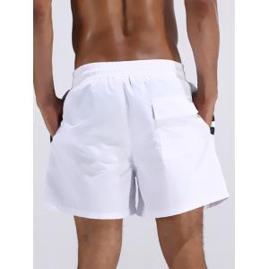 Loose Fitting Stripe Board Shorts - WHITE L
