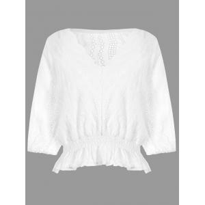 Scalloped Eyelet Flounce Blouse