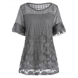 Plus Size Fishnet Flare Sleeve Dressy Ruffle Top
