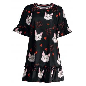 Plus Size Long Ruffle Kitten Printed Bell Sleeve Top - Black - 3xl