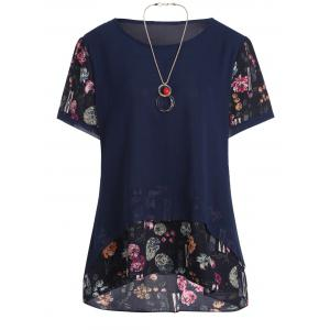 Plus Size Chiffon Floral Ruffle Top with Chain
