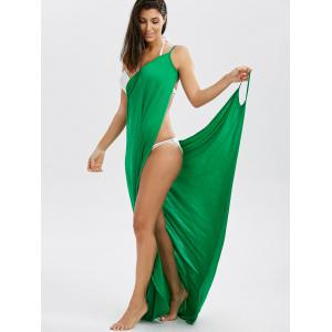 Wrap Front Maxi Slip Cover-Up Dress - GREEN ONE SIZE