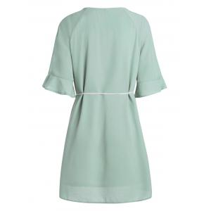 Plus Size Chiffon Flare Slit Sleeve Dress with Belt - GRASS GREEN 4XL