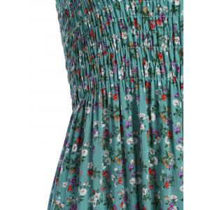 Tiny Floral Print Spaghetti Strap Beach Dress - GREEN ONE SIZE