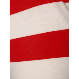 Stripe Off The Shoulder A Line Pocket Vintage Dress - RED M