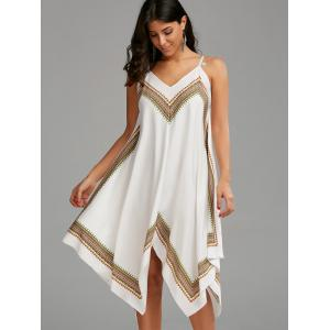 Boho Print Handkerchief Slip Dress - WHITE S