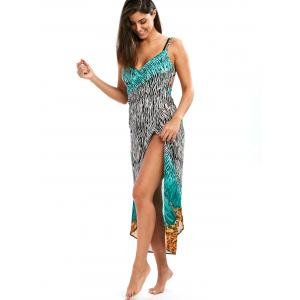 Open Back Zebra Print Wrap Cover-Ups Dress - COLORMIX 2XL