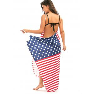 Patriotic American Flag Sarong Cover Up Wrap Dress - COLORMIX 2XL