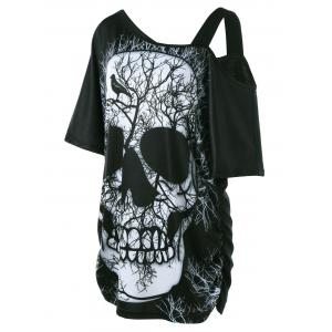 Plus Size Skull Skew Collar Long T-shirt -