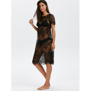 Scalloped Lace Sheer Cover Up Dress for Beach - BLACK L