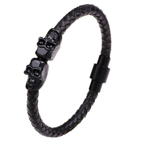 Faux Leather Double Skulls Magnetic Clasp Bracelet - Black