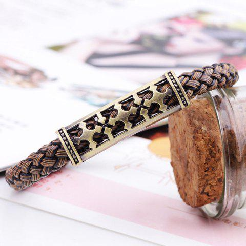 Affordable Retro Cross Braided Faux Leather Bracelet - BROWN  Mobile