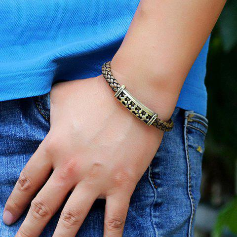 Latest Retro Cross Braided Faux Leather Bracelet - BROWN  Mobile