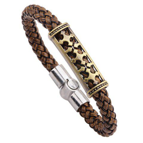 Retro Cross Braided Faux Leather Bracelet - Brown