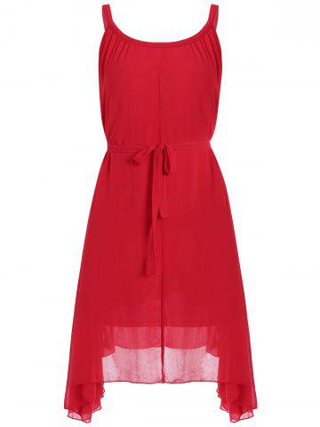 Unique Belted Plus Size Chiffon Spaghetti Strap Flowy Dress RED ONE SIZE