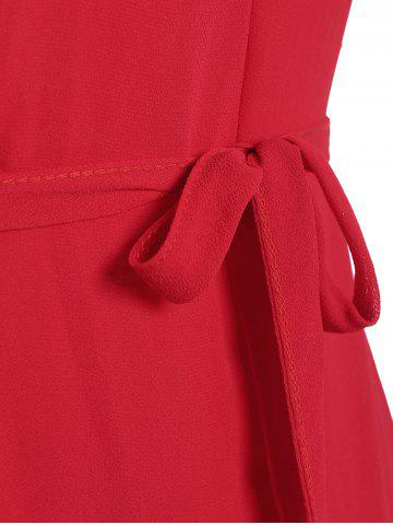 Affordable Belted Plus Size Chiffon Spaghetti Strap Flowy Dress - ONE SIZE RED Mobile