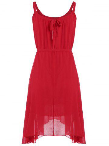 Fashion Belted Plus Size Chiffon Spaghetti Strap Flowy Dress - ONE SIZE RED Mobile