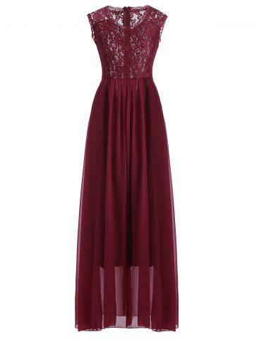 Unique Maxi Lace Top Sleeveless Prom Formal Dress DEEP RED S