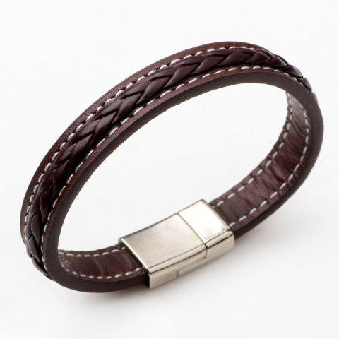 Cheap Artificial Leather Braid Titanium Steel Bracelet BROWN