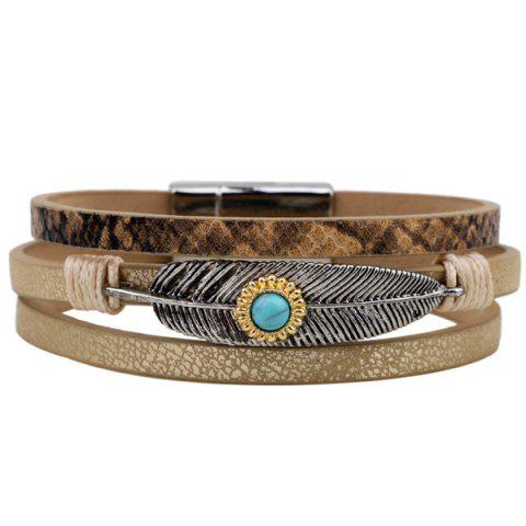 Faux Leather Turquoise Multilayered Leaf Bracelet - Light Coffee