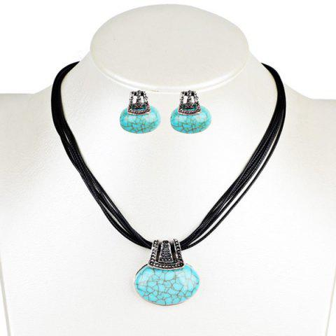 Faux Turquoise Oval Necklace with Earring Set - Blue Green