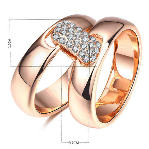 Hot Rhinestoned Double Circle Statement Ring - 6 ROSE GOLD Mobile
