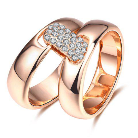 Cheap Rhinestoned Double Circle Statement Ring - 6 ROSE GOLD Mobile