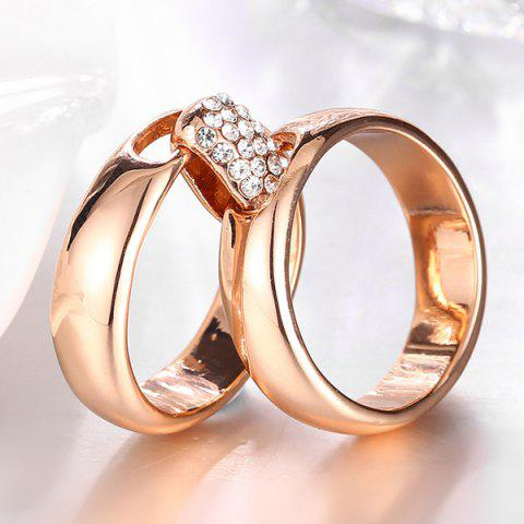 New Rhinestoned Double Circle Statement Ring - 6 ROSE GOLD Mobile