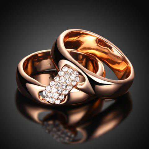 Store Rhinestoned Double Circle Statement Ring - 6 ROSE GOLD Mobile