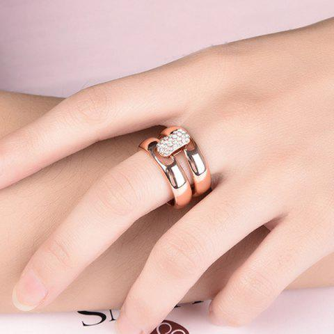 Affordable Rhinestoned Double Circle Statement Ring - 6 ROSE GOLD Mobile